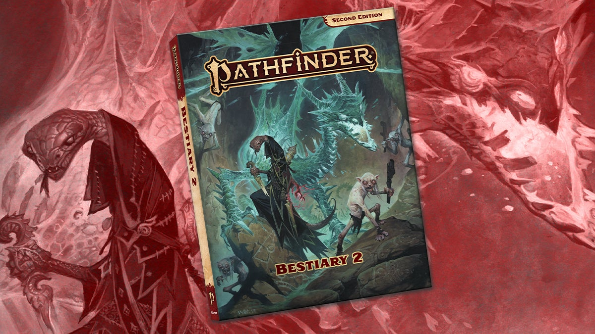 Pathfinder Second Edition Bestiary 2 cover featuring a morlock and a ravager looming in the background