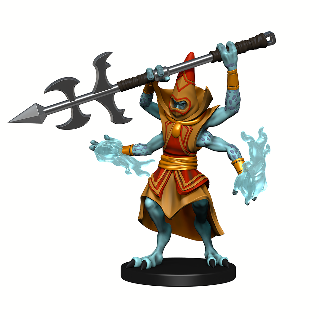 A Witchwyrd  mini figure, a blue 4-armed figure, summoning magic with its lower two hands and holding a large spear above its head with the other two arms