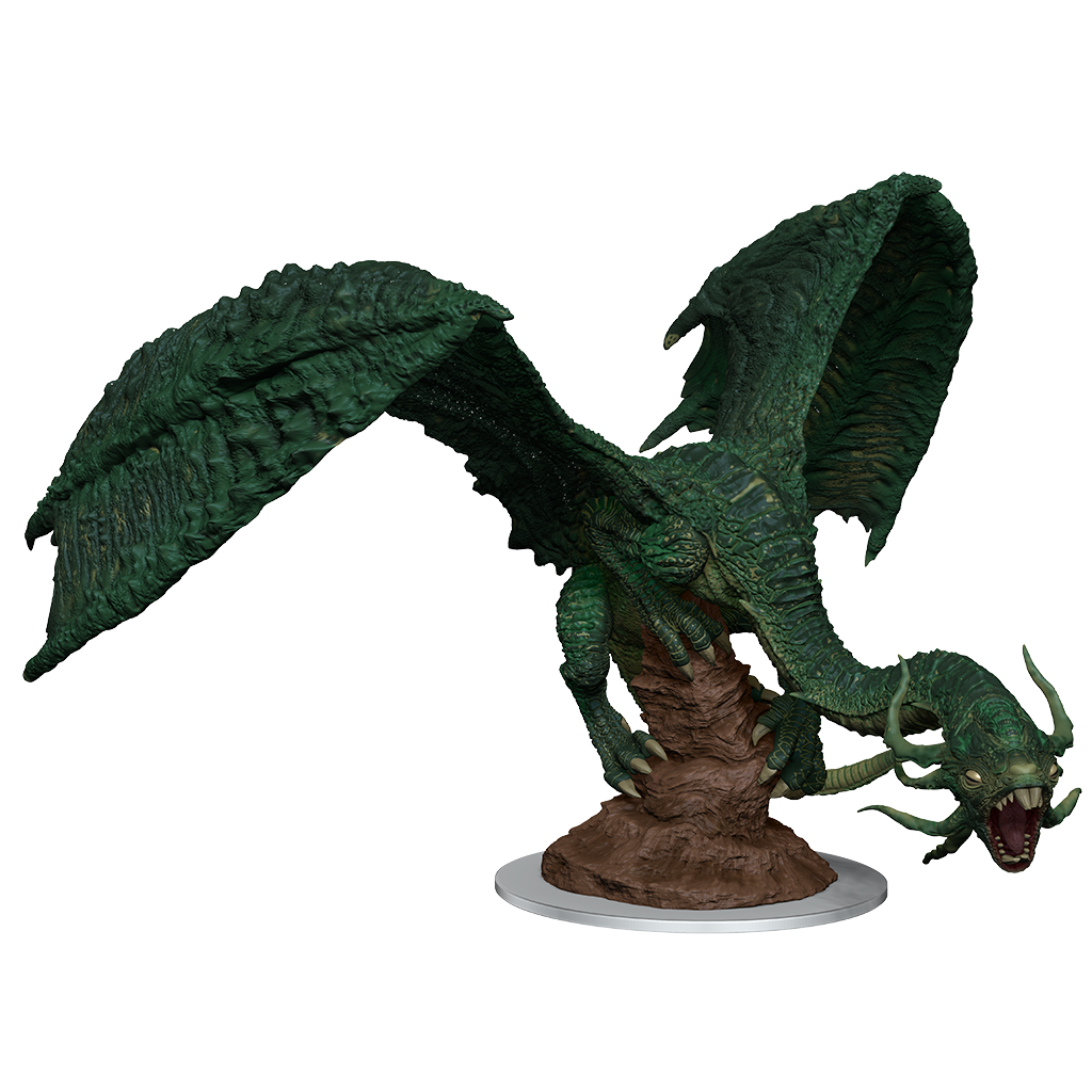a large mini figure of a green jabberwock posed on a jutting stone. Curled around the stone with its wings spread and head lowered and roaring
