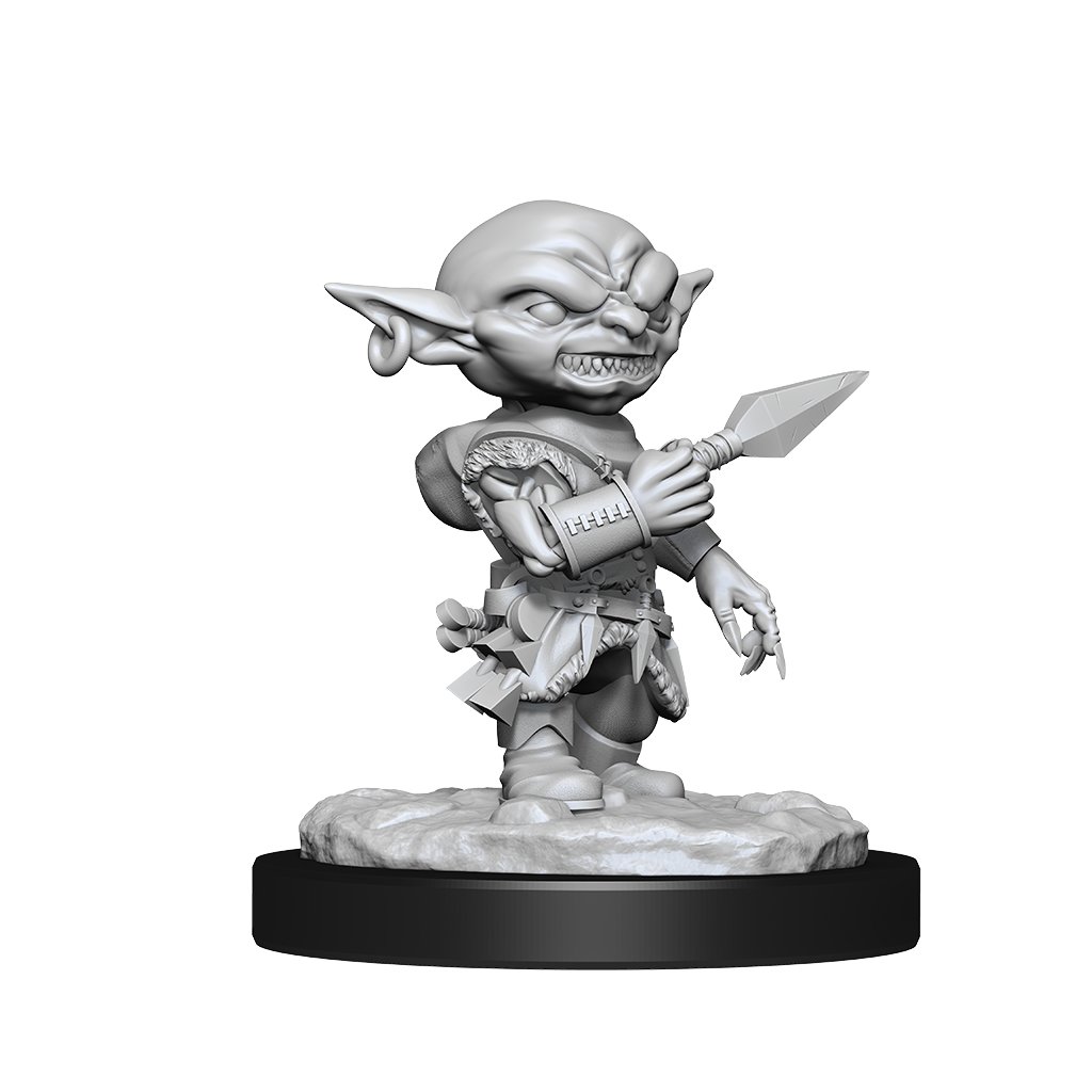 Miniature of a of a male goblin rogue with a pierced ear holding a dagger, ready to throw