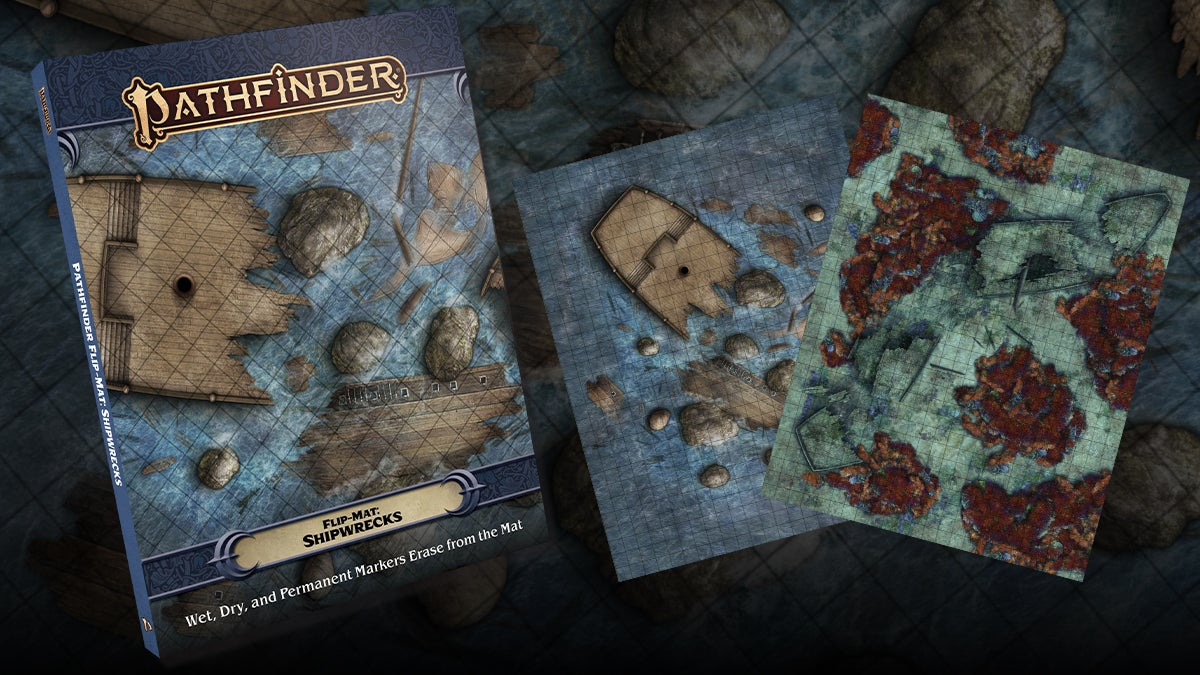 Pathfinder Flip-Mat Shipwrecks. a square gridded mat of a large ship wrecked and split in half on rocks and rough water