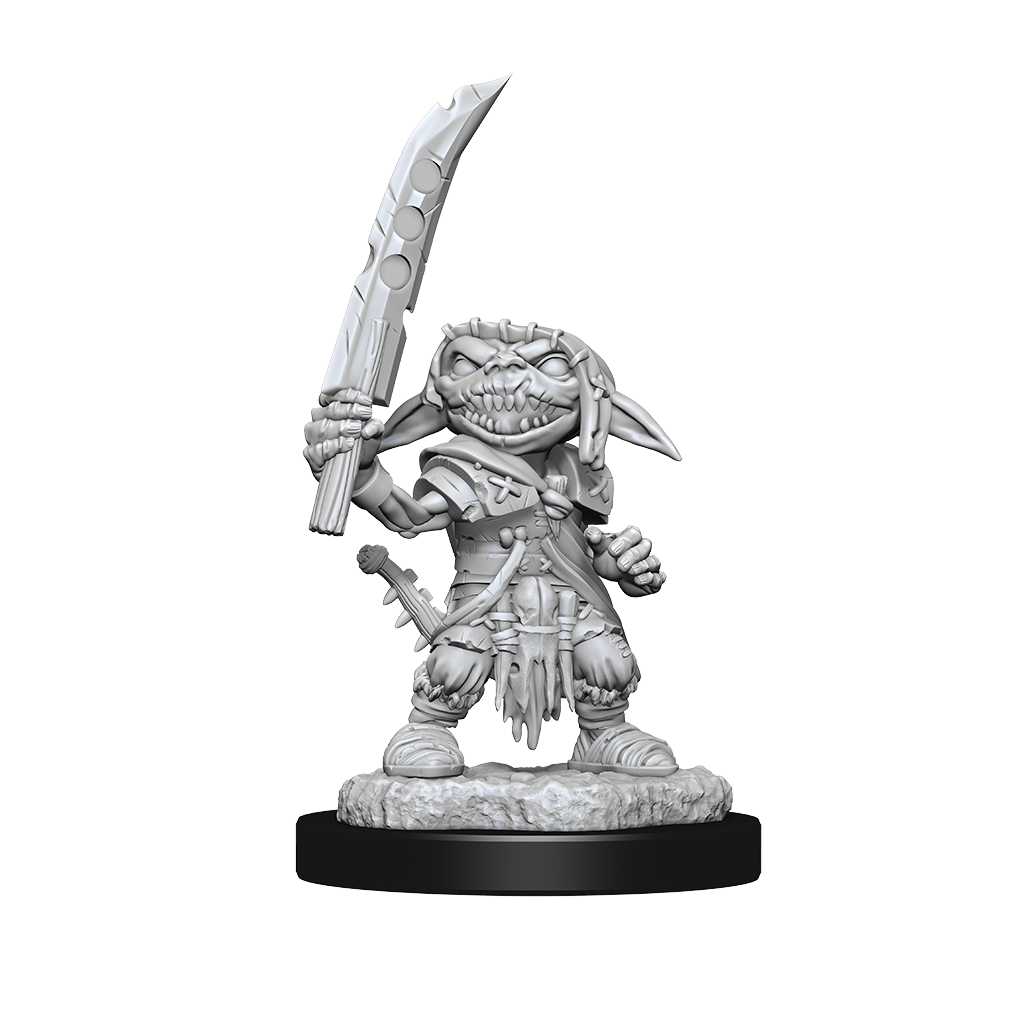 Mini figure of a goblin fighter, standing tall with his sword raised