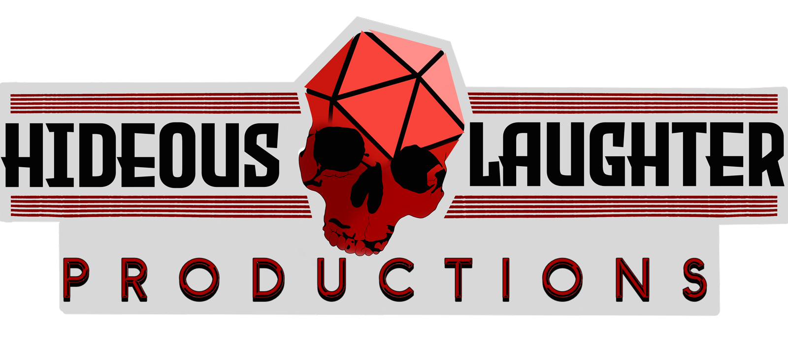Hideous Laughter productions logo, black text around a skull with the dome shaped like a D-20