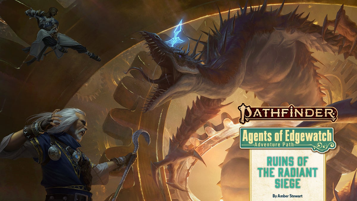 Pathfinder Agents of Edgewatch Adventure Path:  Ruins of the Radiant Siege (6 of 6), Iconics Ezren and Sajan battle a pale dragon-like creature in a clockwork room