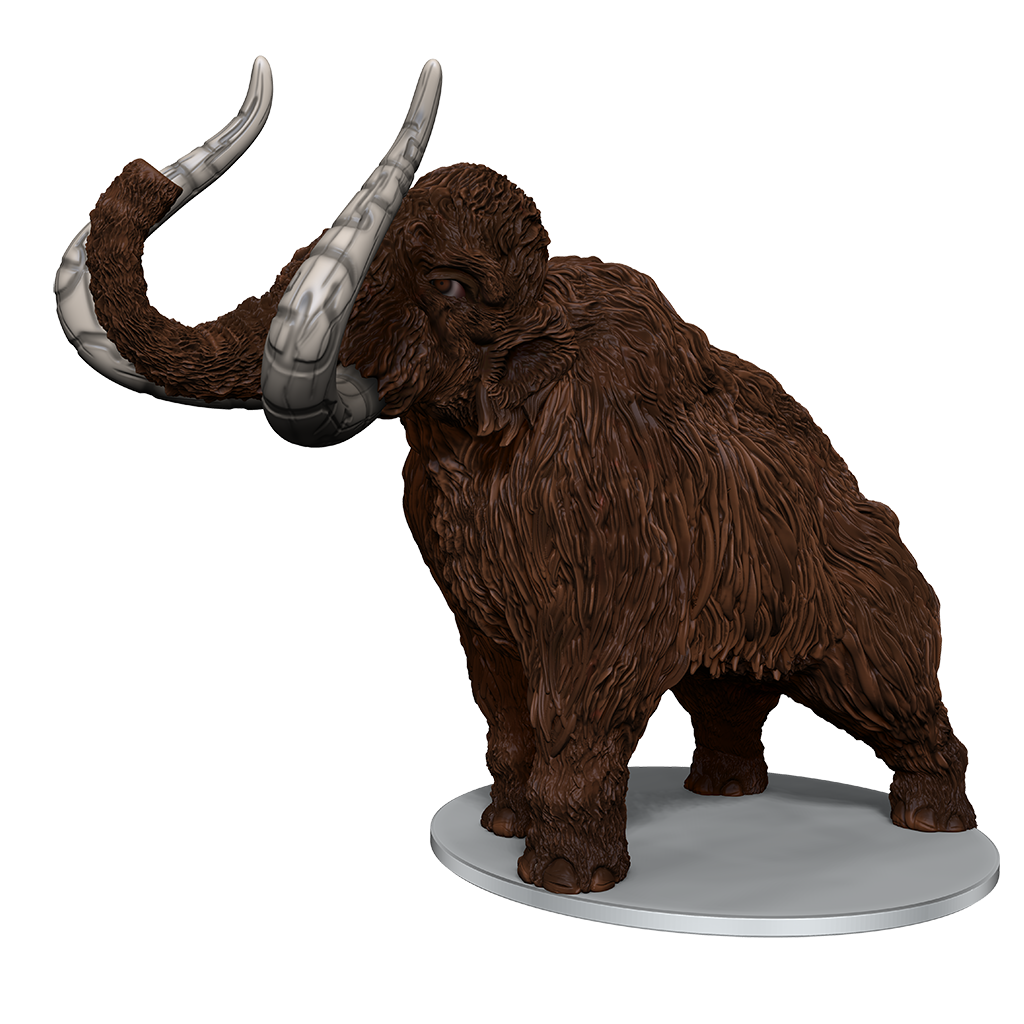 mini figure of a large brown furred mammoth with runes carved into its tusksg