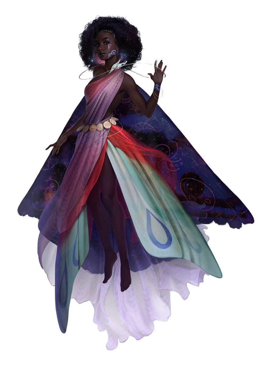 The Pathfinder Goddess Desna, wearing brightly colored robes resembling a butterfly's wing