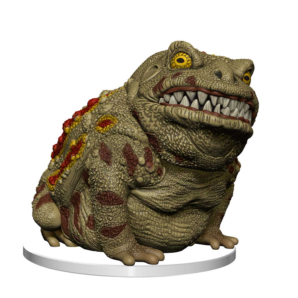 Giant Toad mini figure:  a large toad with red and yellow spots along its back with a mouth full of sharp teeth
