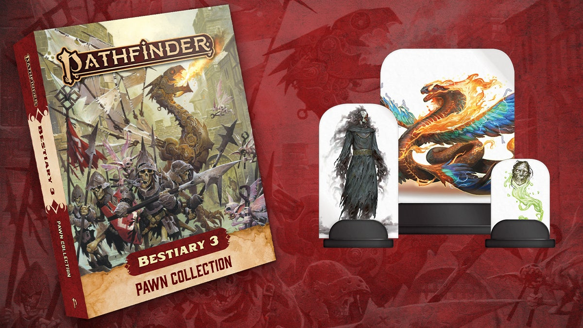 Pathfinder Bestiary Three Pawn Collection cover featuring a troop of armored skeletons in front of a large mechanical dragon breathing fire, all surrounded by pale tooth fairies wielding large pliers