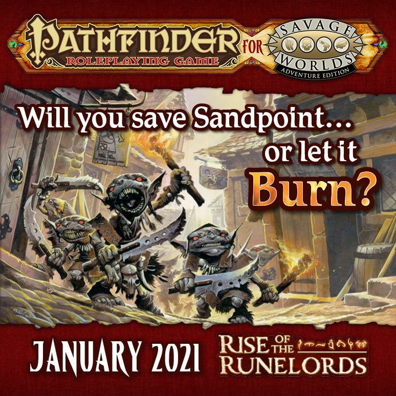 Two goblins prepare to burn down homes in Sandpoint from Rise of the Runelords.