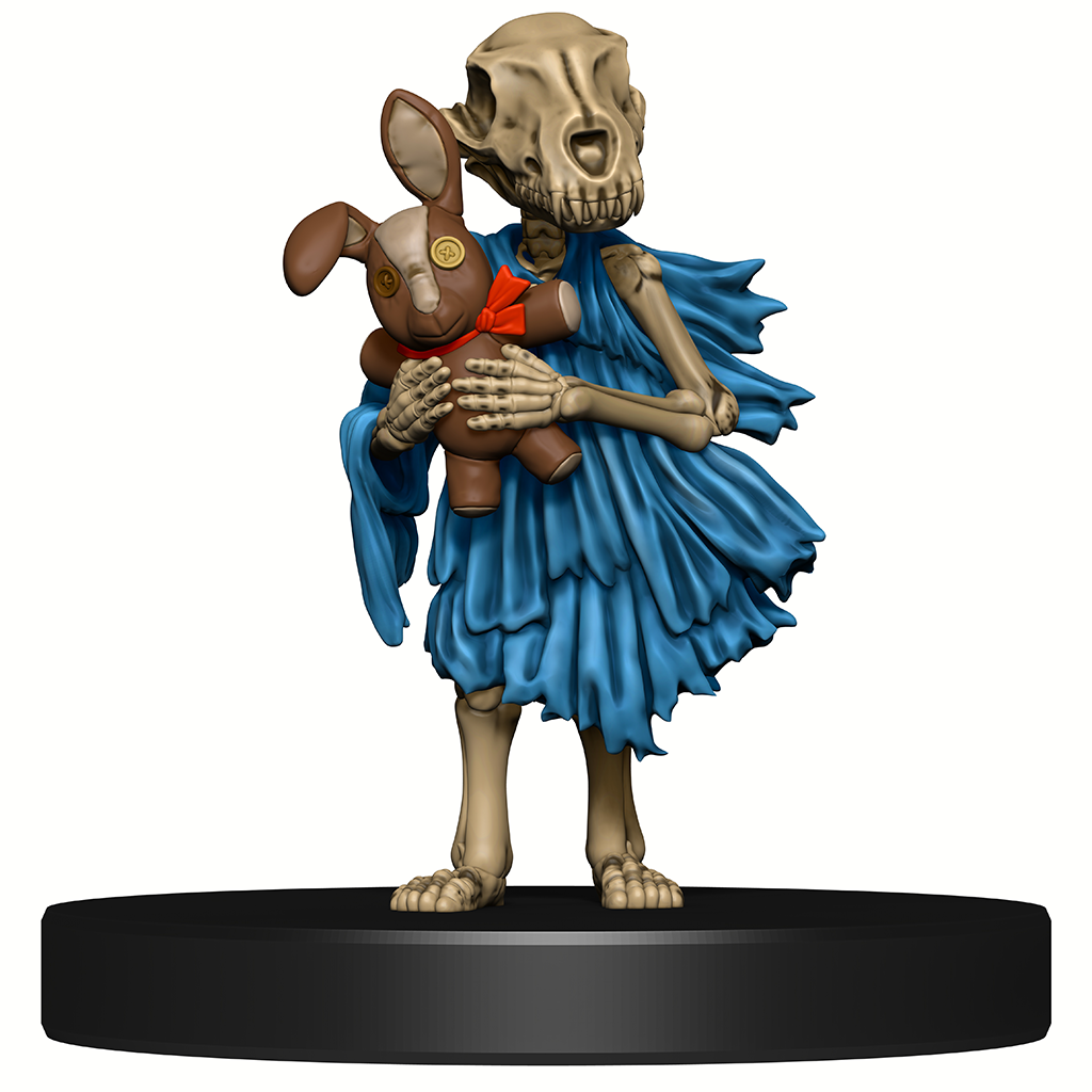 A mini figure of a small childlike skeleton with a dog skull for a head, wearing a blue raglike dress, holding a stuffed rabbit