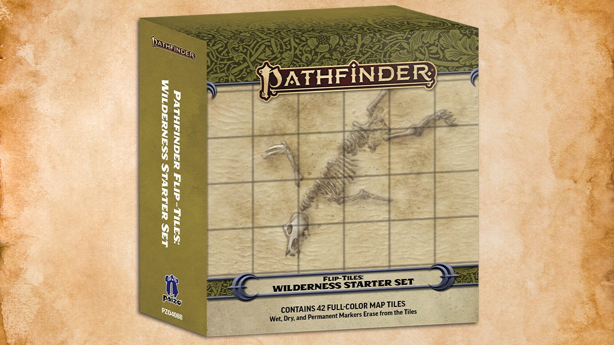 Pathfinder Flip-Tiles: Wilderness Starter Set Box cover featuring a square tile map of a desert with a half buried skeleton of a large creature