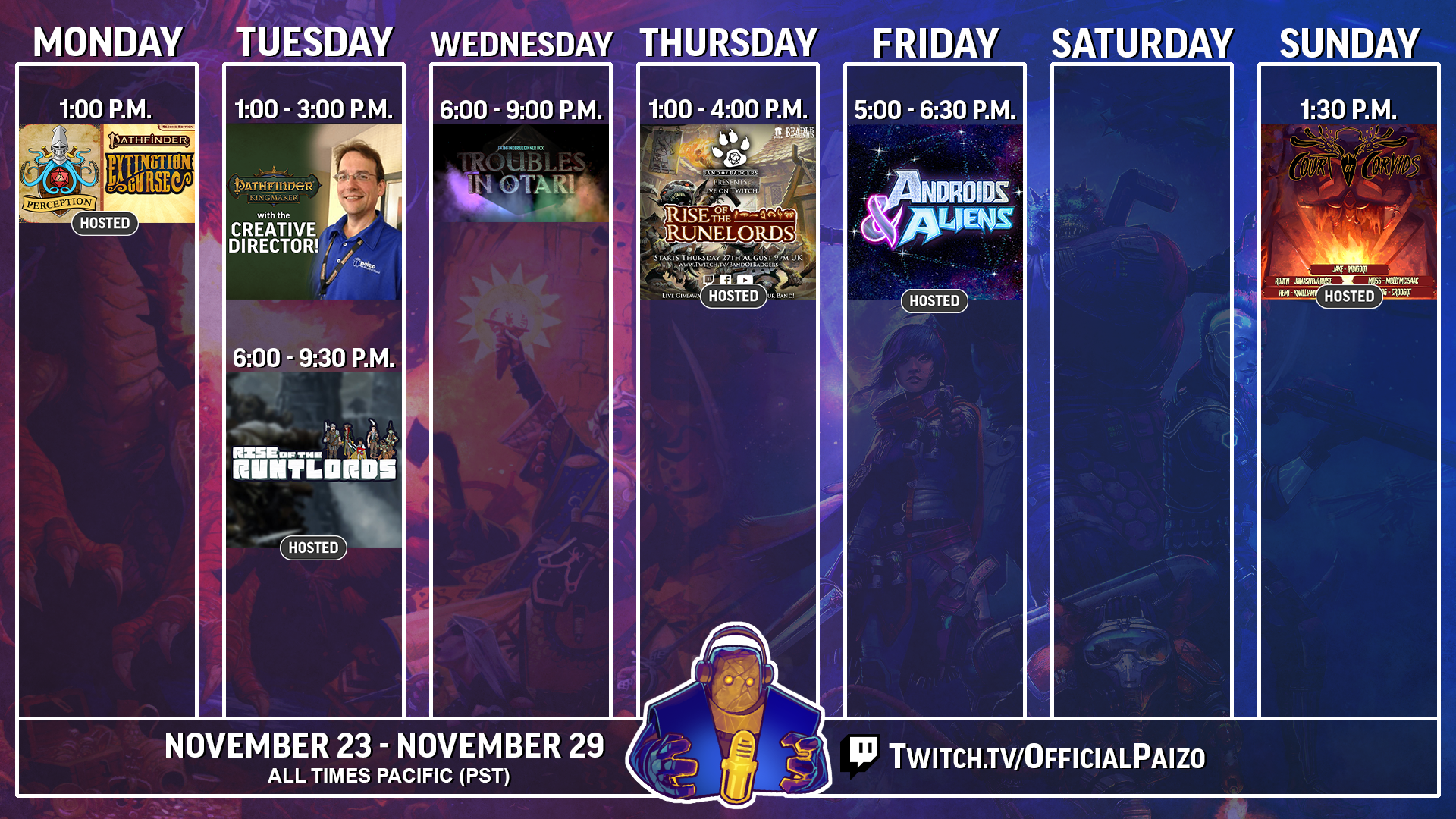 Official Paizo twitch streaming schedule for November 16th to the 22nd