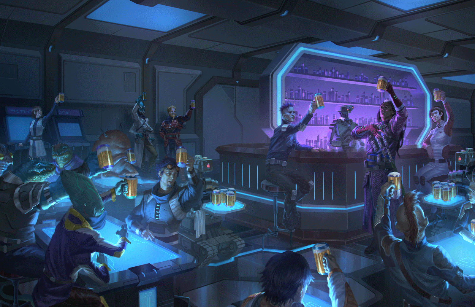 A group of humans and aliens raise their glasses in celebration in a futuristic bar