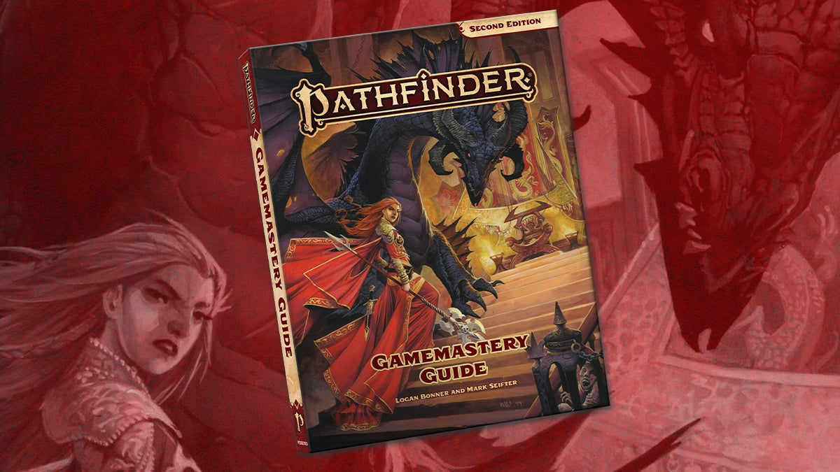 Pathfinder Second Edition Game Mastery Guide Pocket Edition. A redheaded woman in armor stands on a set of steps in front of a black dragon