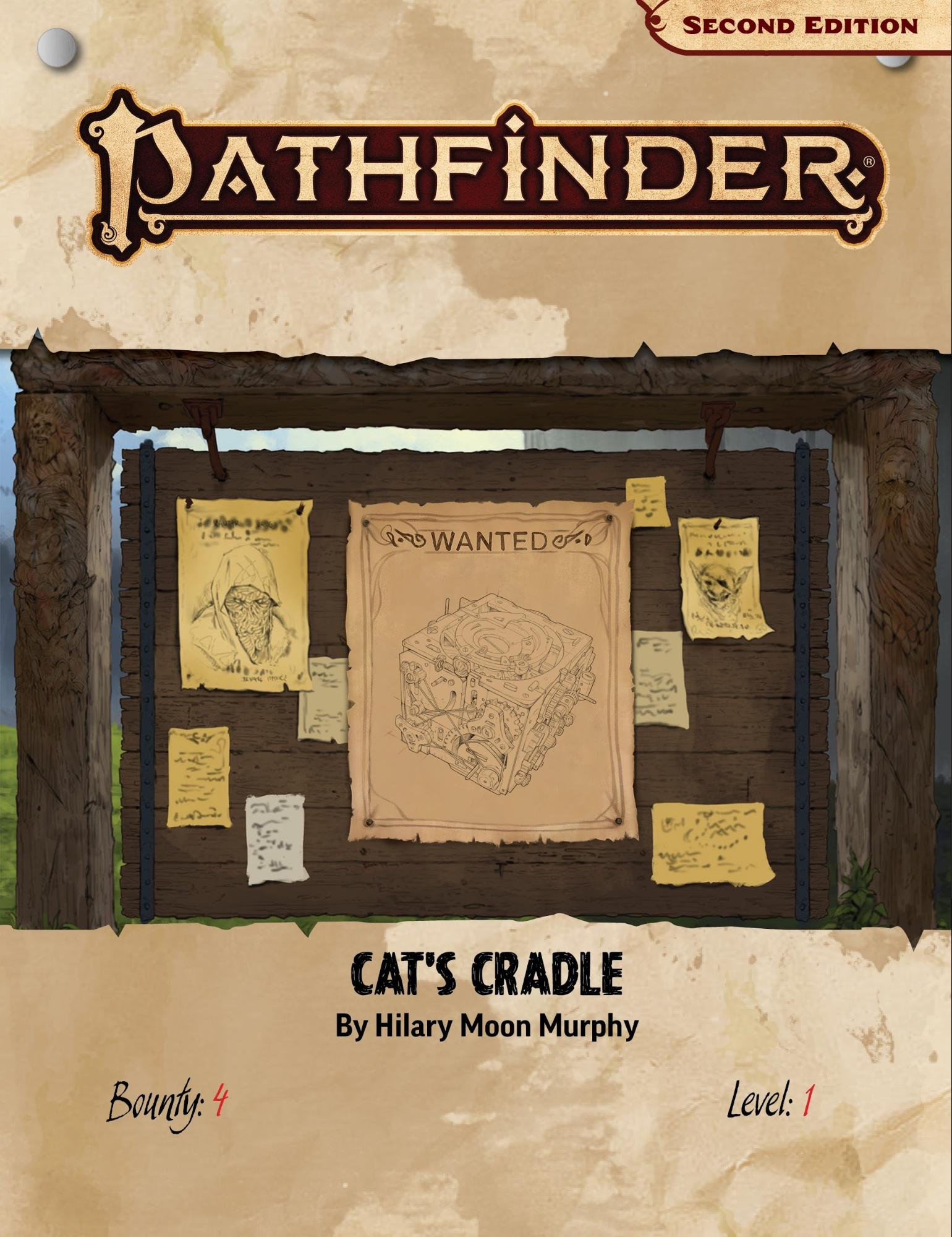Pathfinder Society Cat's Cradle Bounty, a large board covered in wanted posters