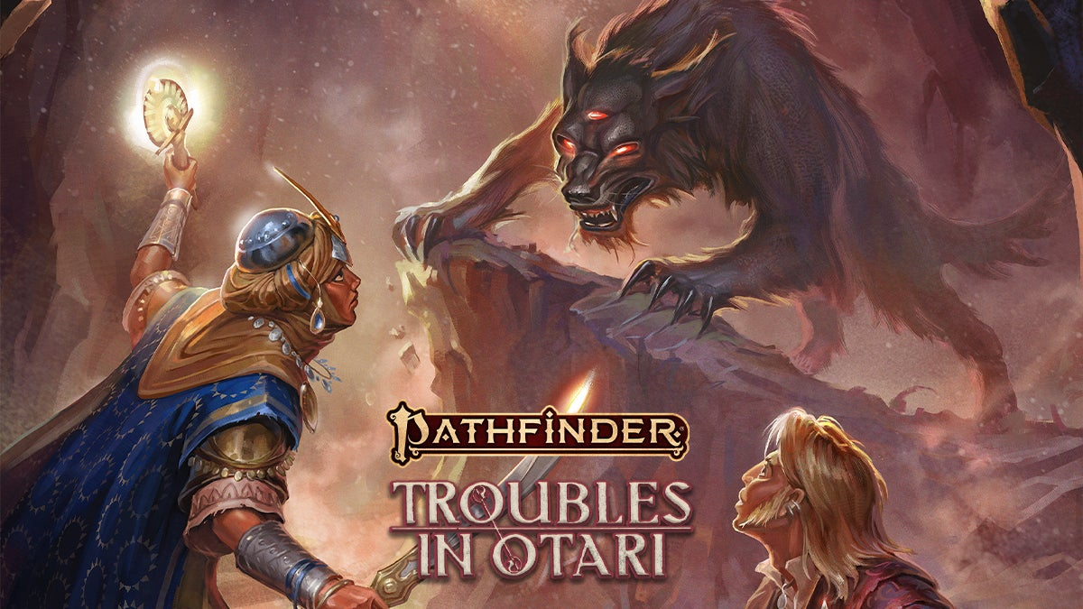 Pathfinder Adventure: Troubles in Otari. Pathfinder Iconics Kyra and Lem stand against a large three eyes wolf-like creature