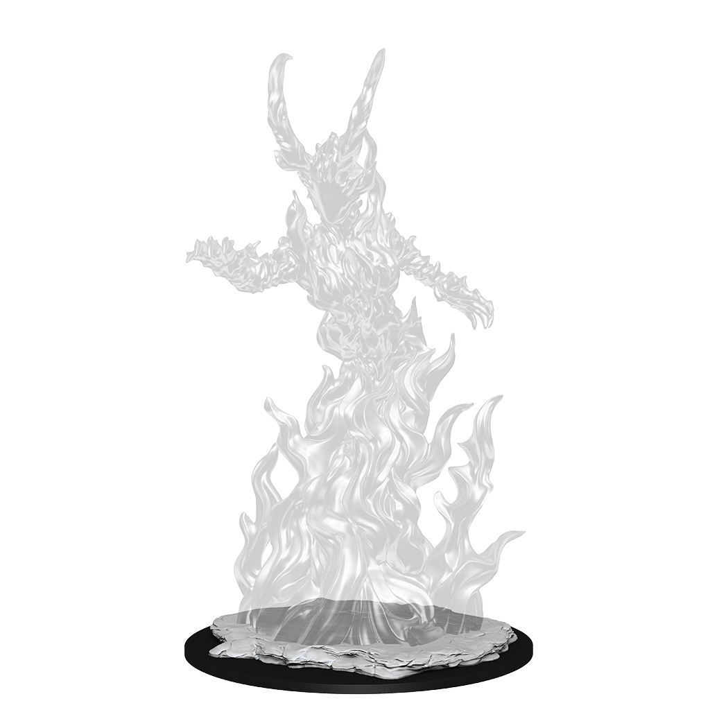 Transparent  mini figure of a  fire elemental with large horns