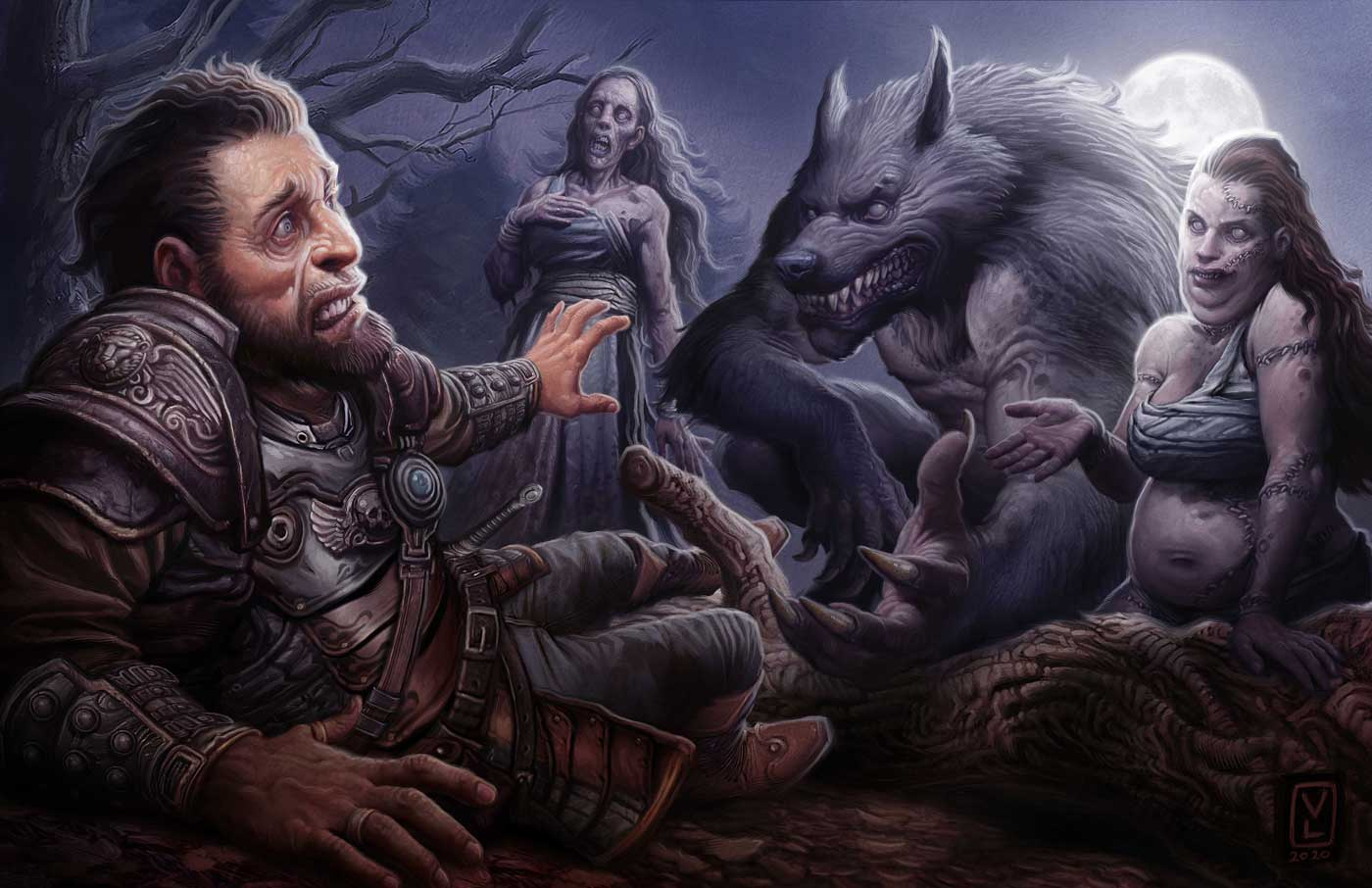 Illustration by Victor Manuel Leza Moreno from Pathfinder Lost Omens Ancestry Guide.; alt: a gray-furred wold-man, a woman with a patchwork of stitched skin, and a walking desiccated corpse loom over a frightened man under a creepy full moon.