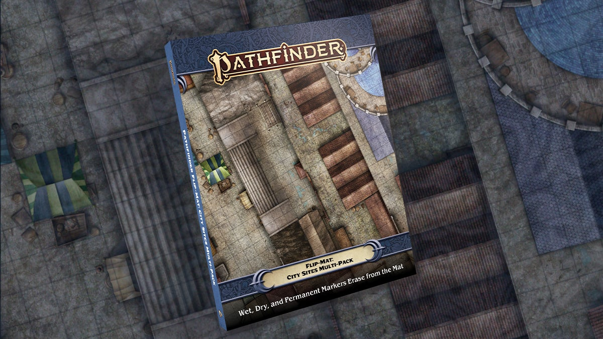 Pathfinder city site flip mat featuring a top down view of a market square