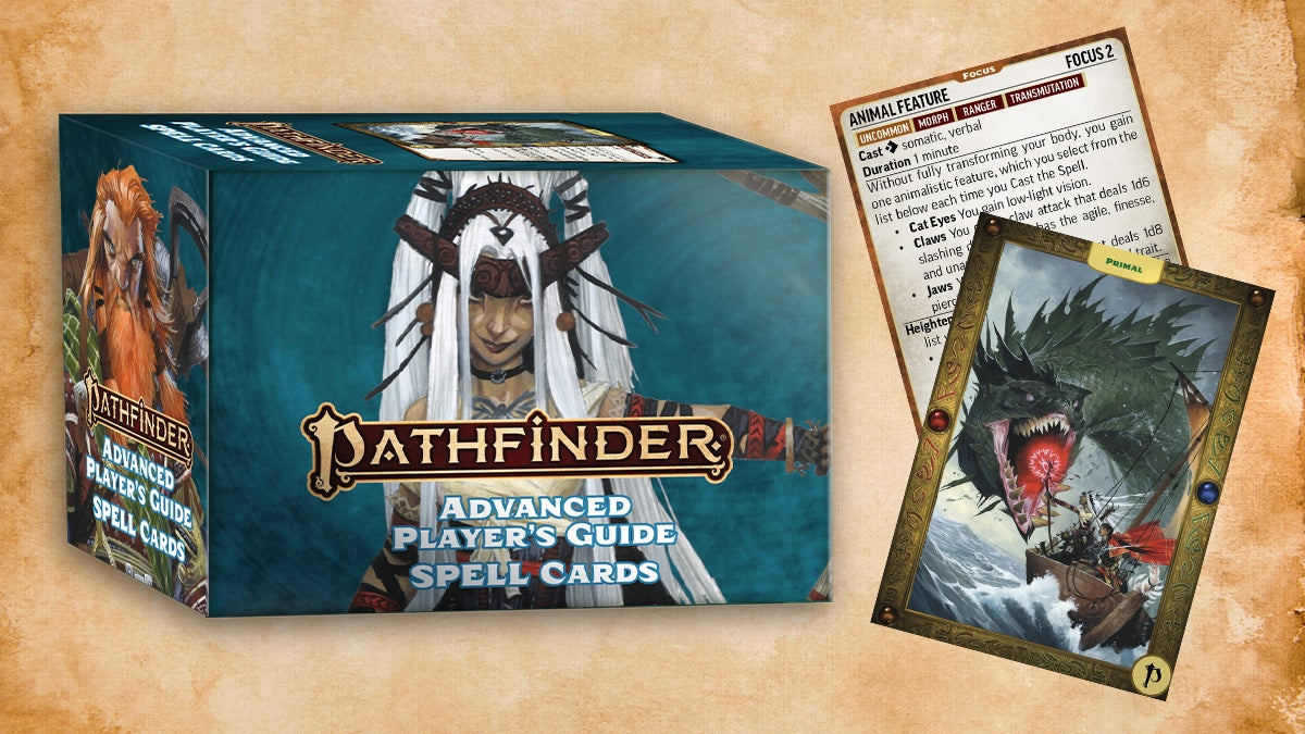 Pathfinder Advanced Player's Guide spell cards featuring  Feiya the iconic witch