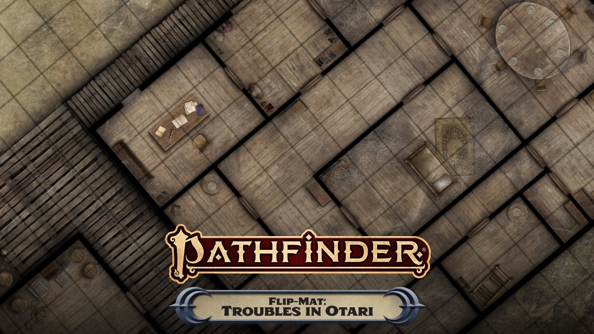 Pathfinder Flip-Mat: Troubles in Otari. A top down view of a square tiled flip mat, showing off the interior rooms of a wooden buildinge