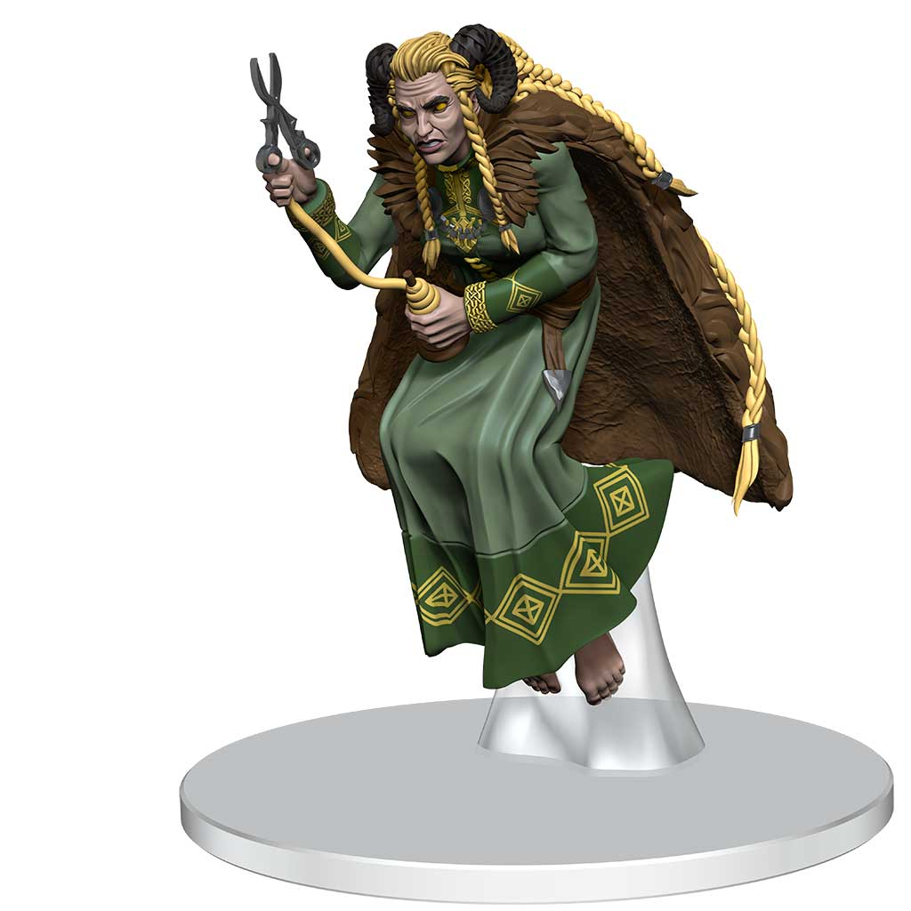 Norn Mini Figure: a yellow eyed being with long blond braids and a brown furred cloak, holding a spindle and scissors