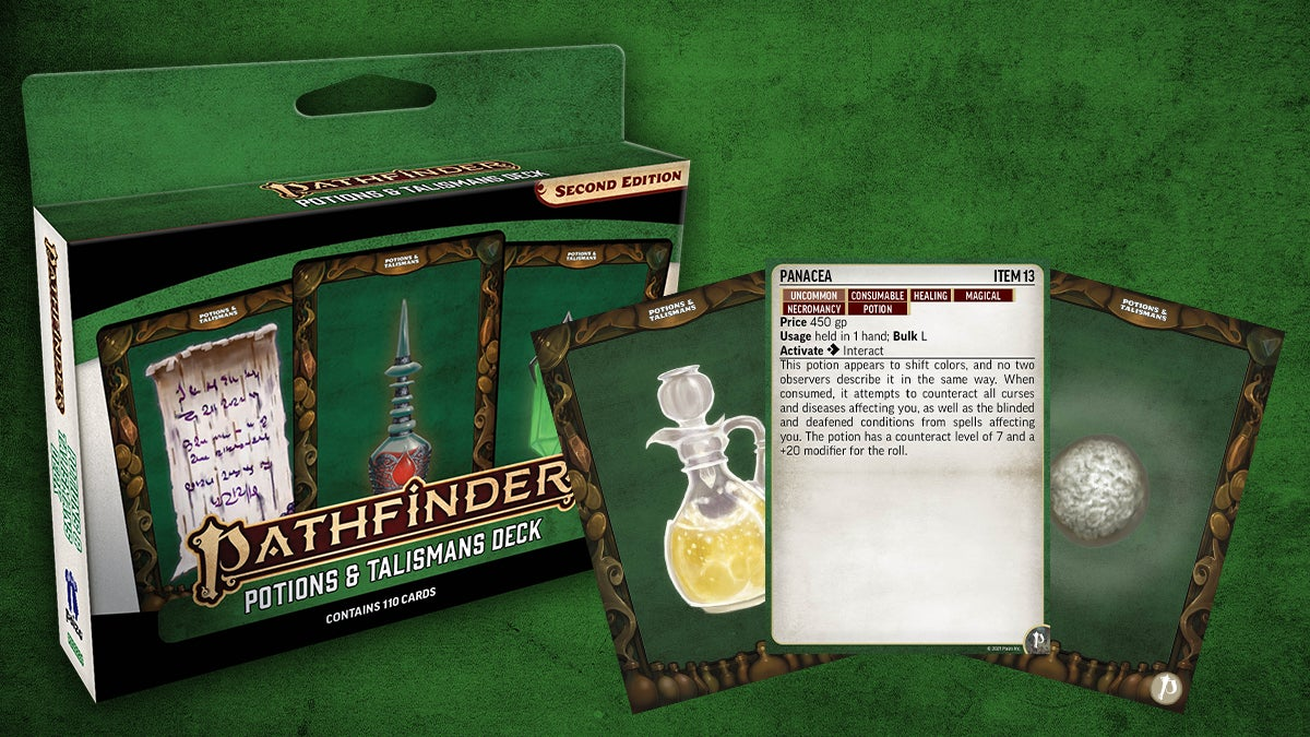 Pathfinder Potions and Talismans deck box and card mock ups, a glass decanter with a bubbling yellow potion and a tall mysteriously glowing red potion