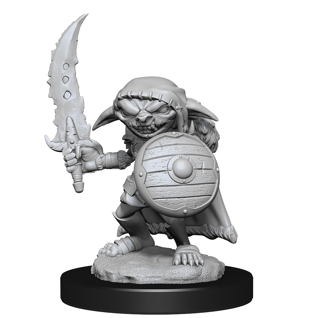 Mini figure of a goblin fighter, crouched behind a shield with a jagged sword raised