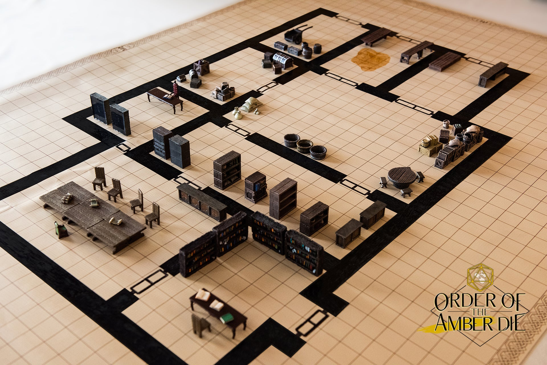 View looking down on the table map, different rooms include a dining hall, offices, and a few large storage rooms