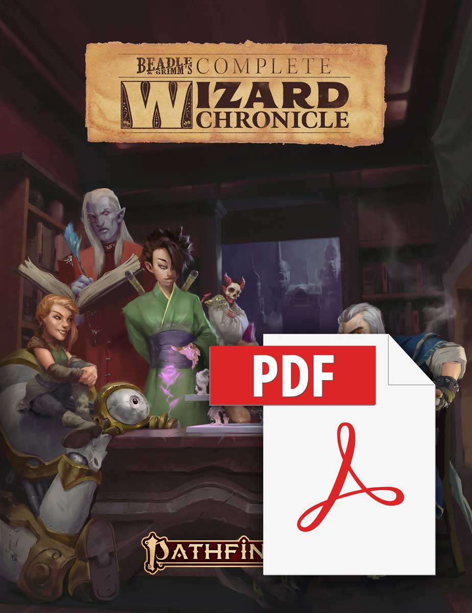 Beadle and Grimm's Complete Wizard Chronicle. Pathfinder Iconic Wizard Ezren and a few other wizards sitting around a table