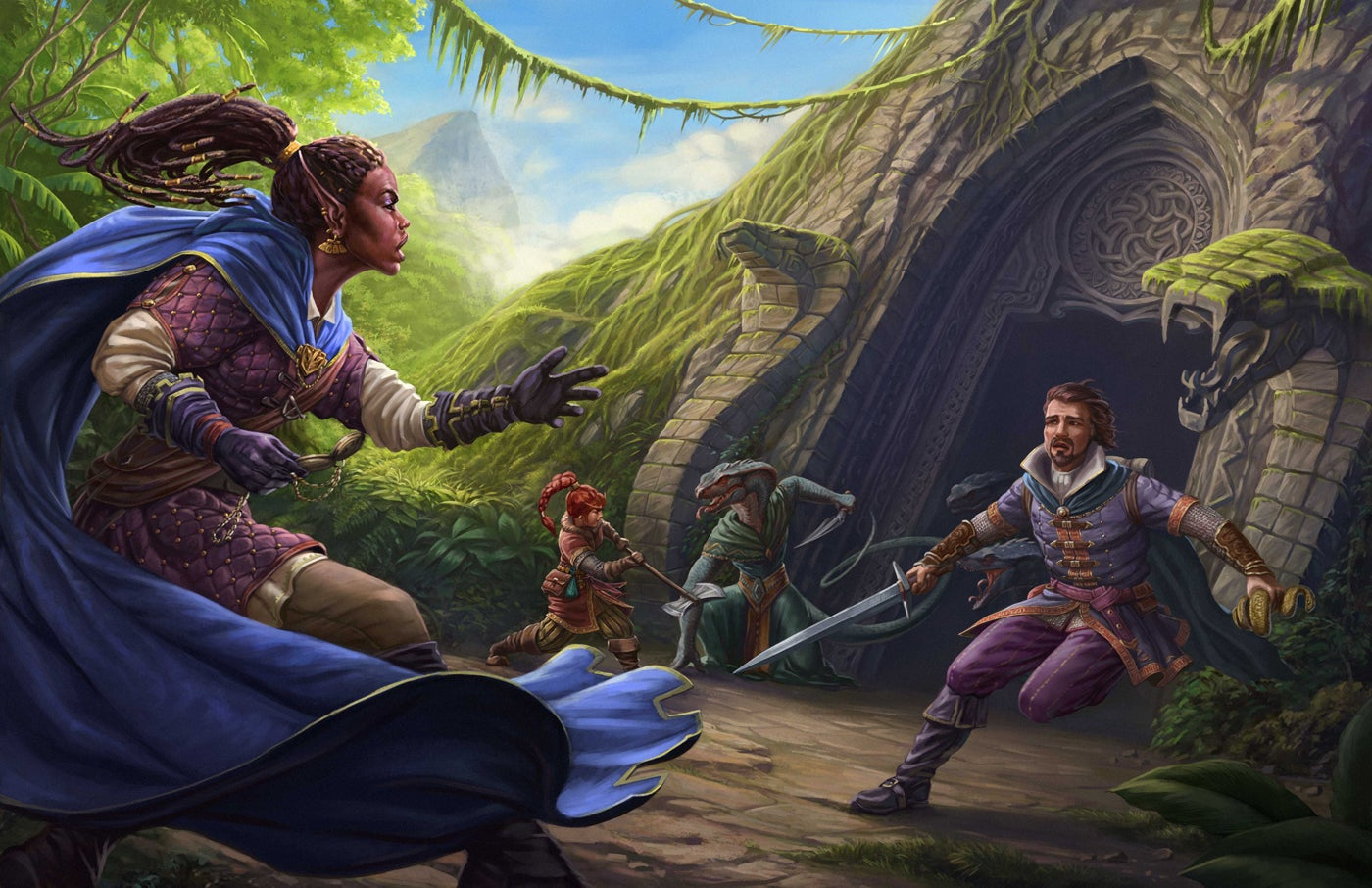 A dark-skinned elven woman, a finely-dressed human man, and a red-haired female dwarf fight a robed snake-man near the door to a ruined jungle temple.