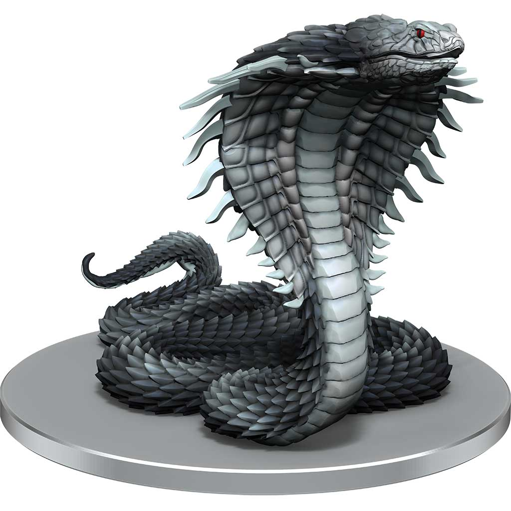 Emperor Cobra Mini figure: A large, rearing, grey cobra with spiked scales and deep red eyes