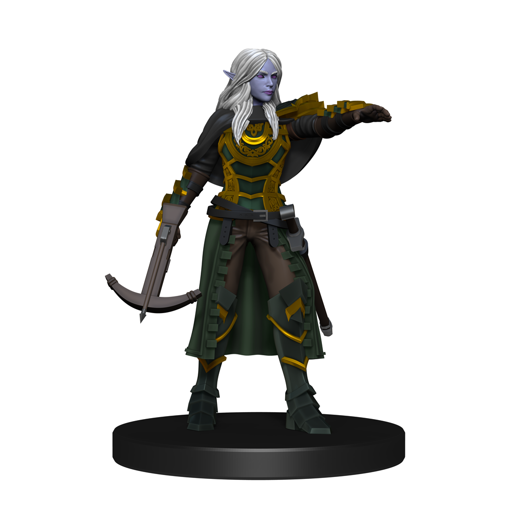 Mini figure of a long haired drow rogue with a crossbow in one hand and reaching out with the other