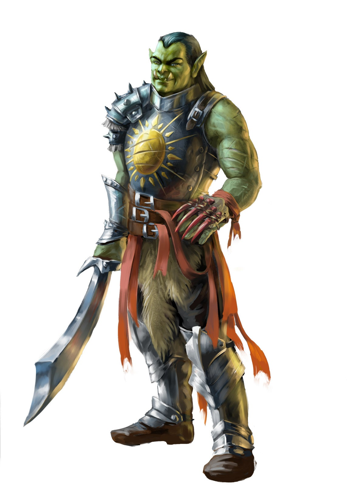 An armored orc with a sunburst on their chest plate and a scimitar in their right hand