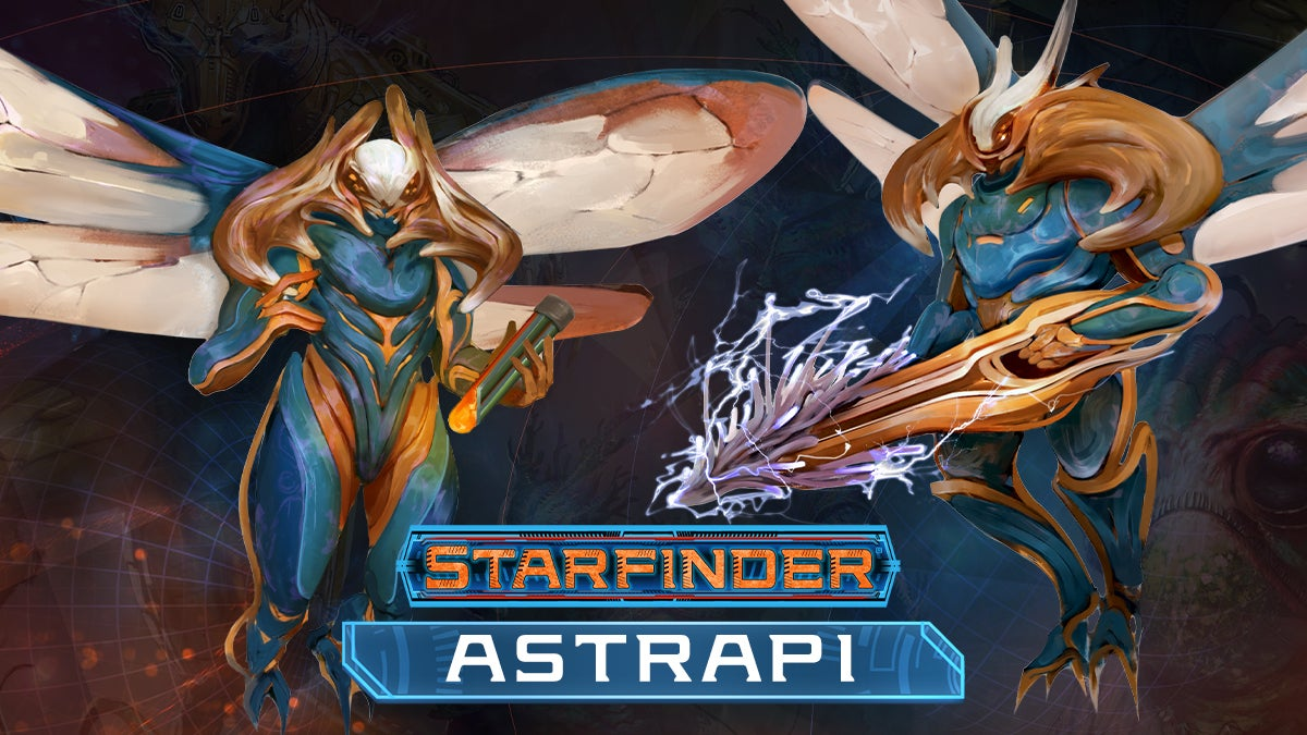 Starfinder playable race, Strapi. Bipedal arthropods with chitinous exoskeletons, membranous insectile wings, and large powerful mandibles. Their pigmentation runs the gamut from dark blues through bold yellows, and some astriapis selectively carve their exoskeletons to create individualistic patterns