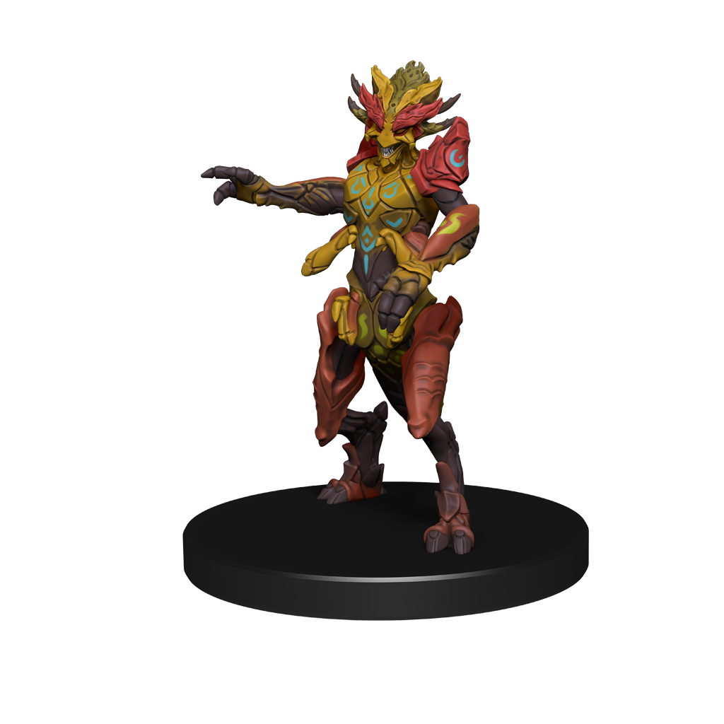 D'ziriak: a mini figure of a 4-armed insect like creature with orange and yellow colorings, and blue runes across its body and arms