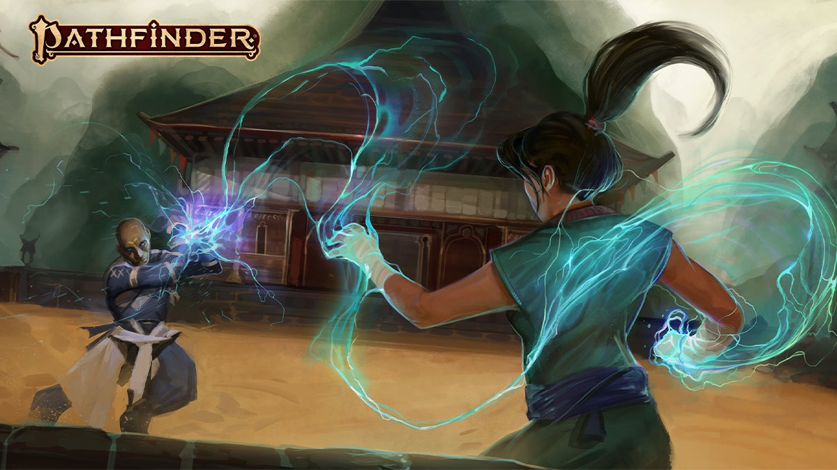 """Two martial artists fight in the center of a wide arena. A spiraling bolt of lightning arcs from one's outstretched hand and is reflected off the other's crossed bracers."""""""