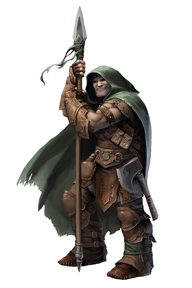 : A cloaked man grimaces menacingly as he leans on a longspear. A woodcutter's axe with the symbol of a lumber consortium hangs off his belt.