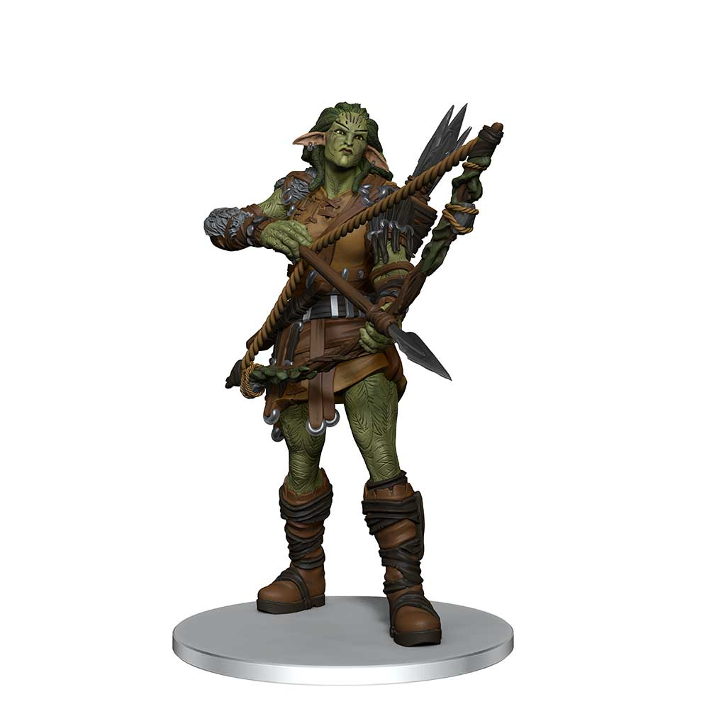 Wood Giant Mini figure: a green skinned giant in leather armor, holding a bow and arrow at the ready
