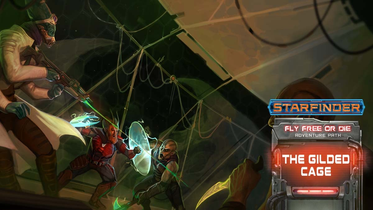 Starfinder Fly Free or Die Adventure Path. Iconics Barsala and Vellori fighting against two attackers wielding blades