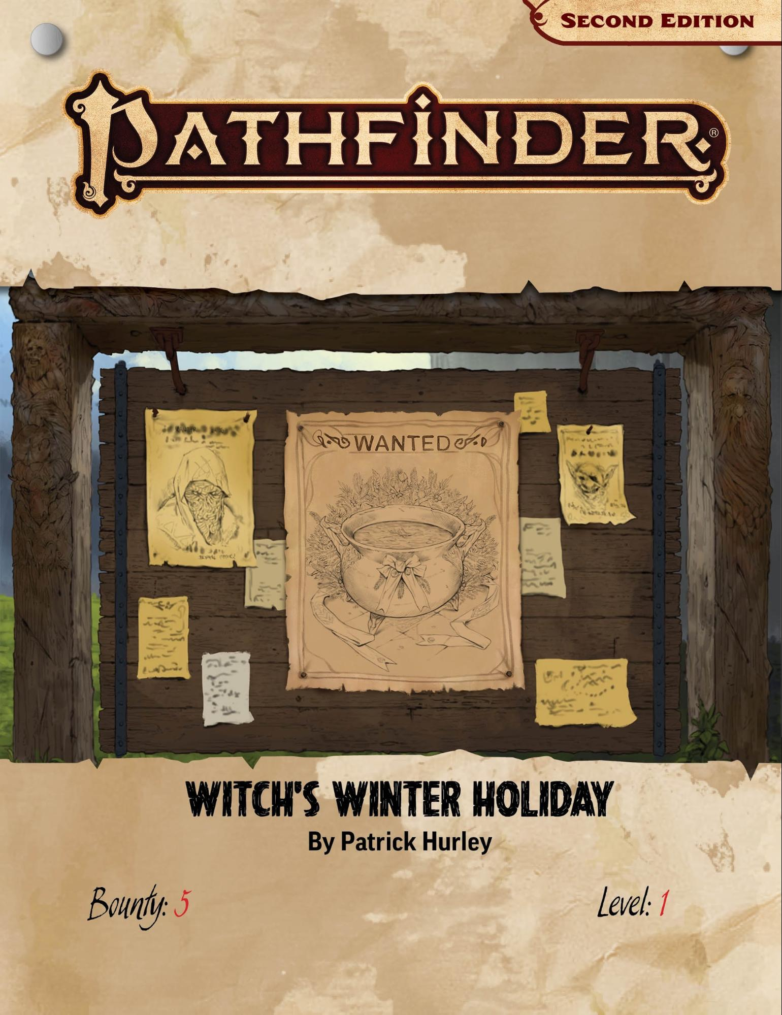 Pathfinder Bounty Witch's Winter Holiday: A wanted board with a poster of a witches cauldron