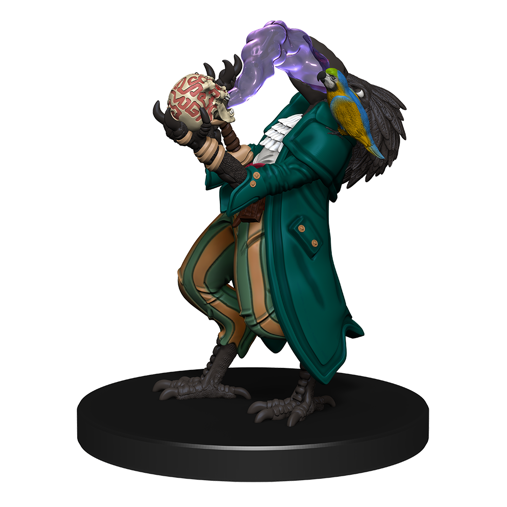 Tengu Jinx Eater: A mini figure of a tengu in a large jacket with a parrot on their shoulder, eating a purple smoke from a broken jar