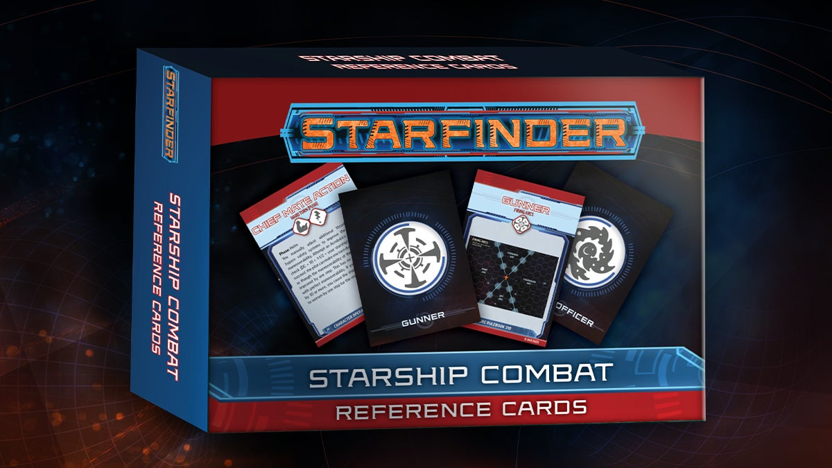Starfinder Starship Combat Reference Cards box cover, featuring an illustration of the Gunner and Officer combat cards