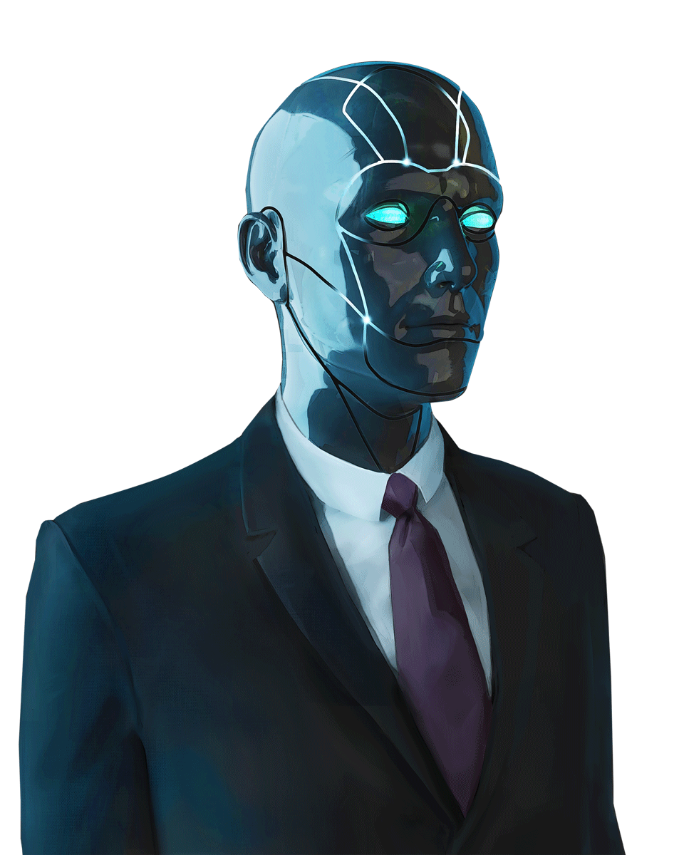 A blue eyed android in a classic black suit with a white shirt and dark purple-grey tie