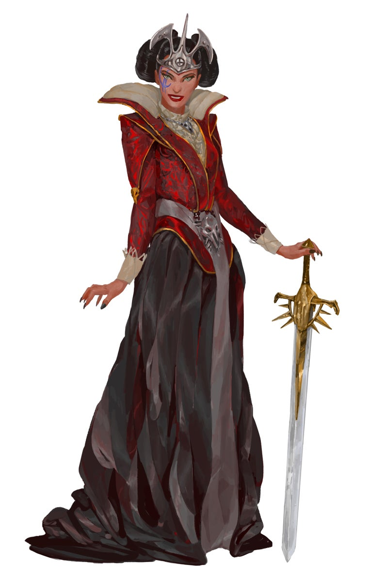 Queen Abrogail Thrune II stands holding a longsword once belonging to a paladin of Iomedae. Art by Sarunas Macijauskas