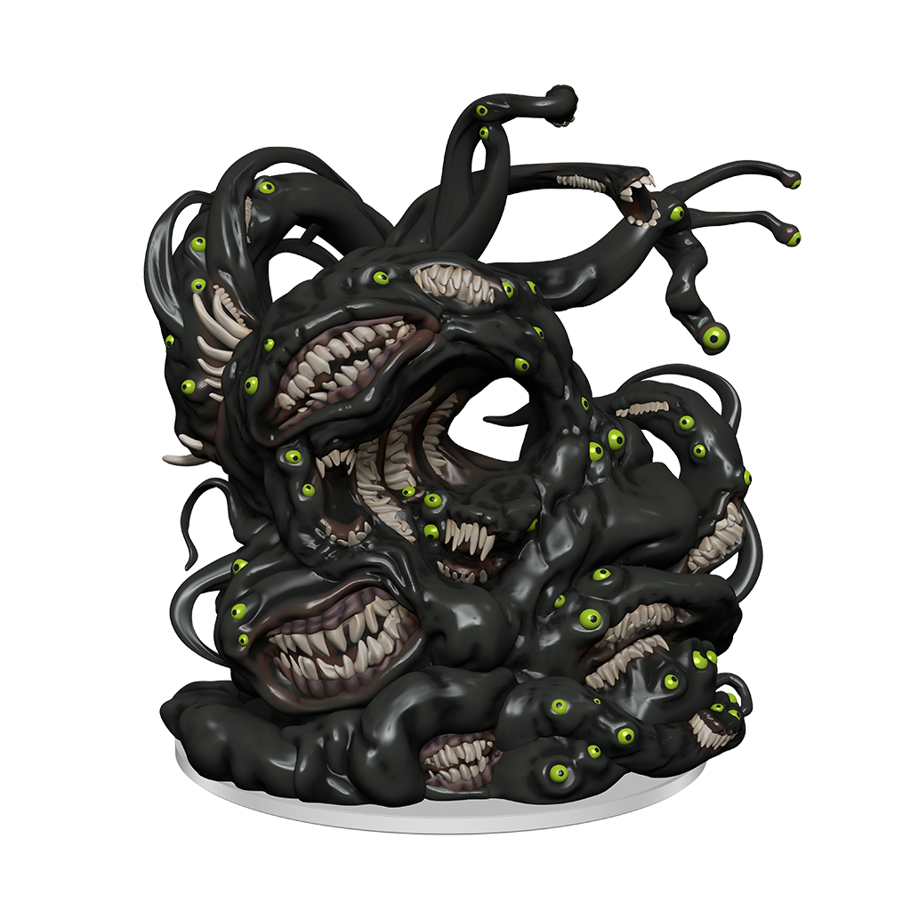 A Shoggoth mini figure: A mound of a black slime-like substance full of yellow/green eyes and mouths