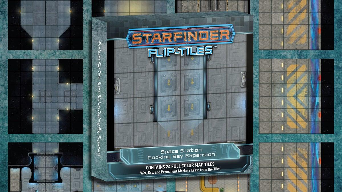 Starfinder Flip-Tiles Space Station Docking Bay Expansion. box mockup over-layed over the different square tiled flip mats