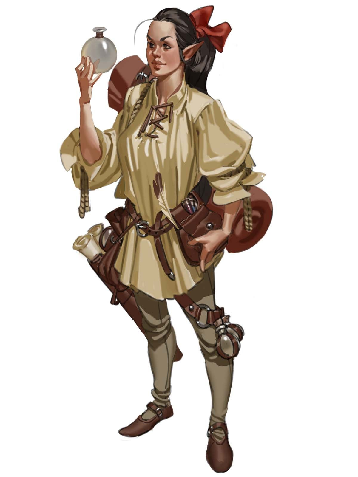 Armeline Jirneau, an elf dressed in a basic tunic and trousers, wearing a pack an side bag full of scholarly materials such as scrolls, inks, and quills