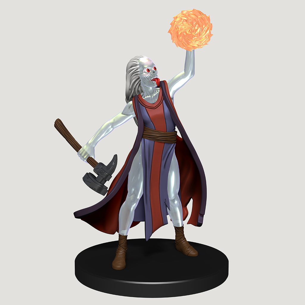 A mini figure of a transparrent-skinned Urgefhan warrior, wearing red and blue robes with a war hammer in one hand and summoning fire in the other