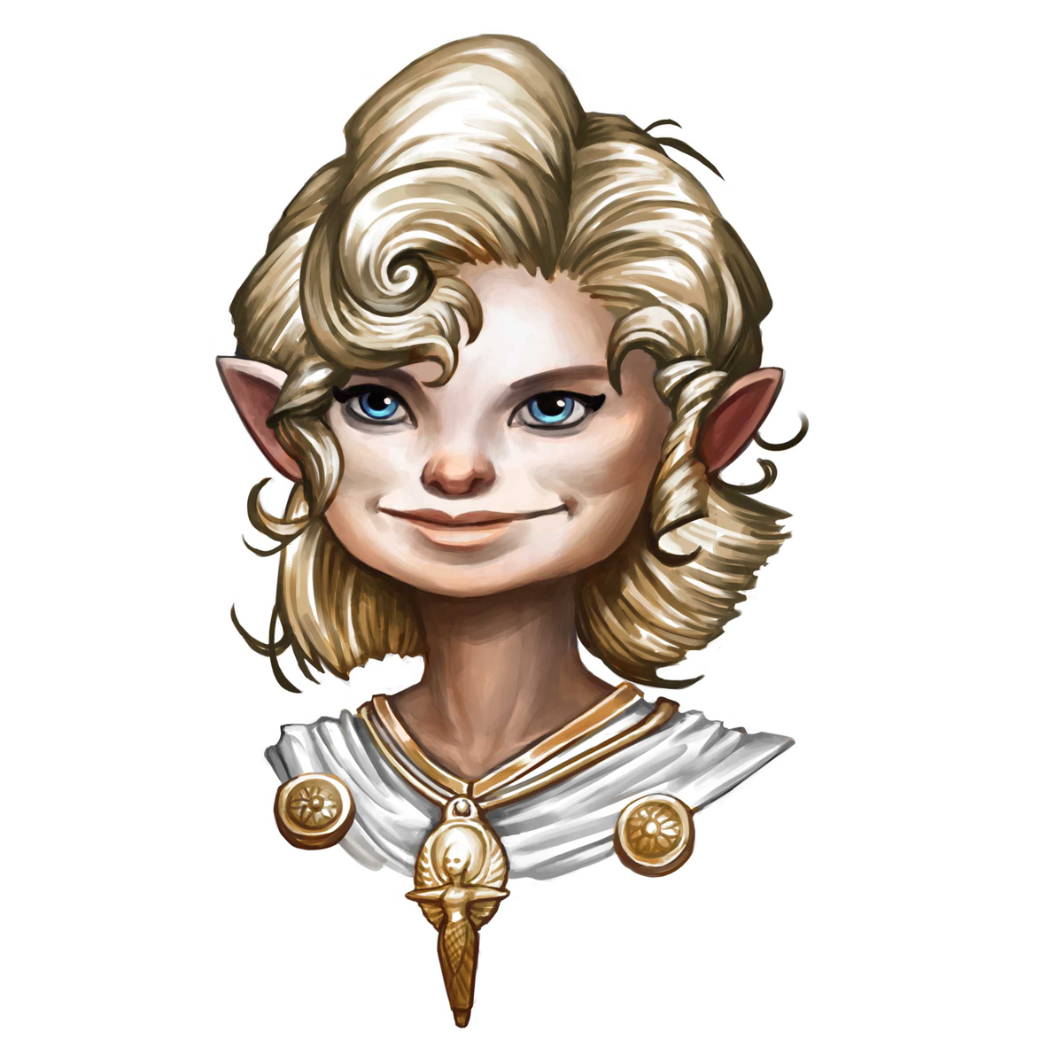 A blonde-haired halfling woman wearing a holy symbol of Sarenrae